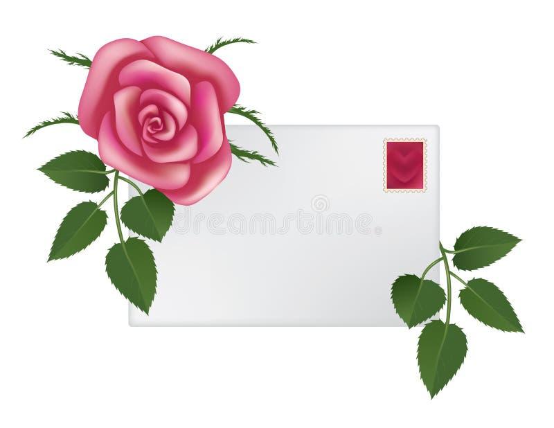 Rose und Umschlag stockfotografie