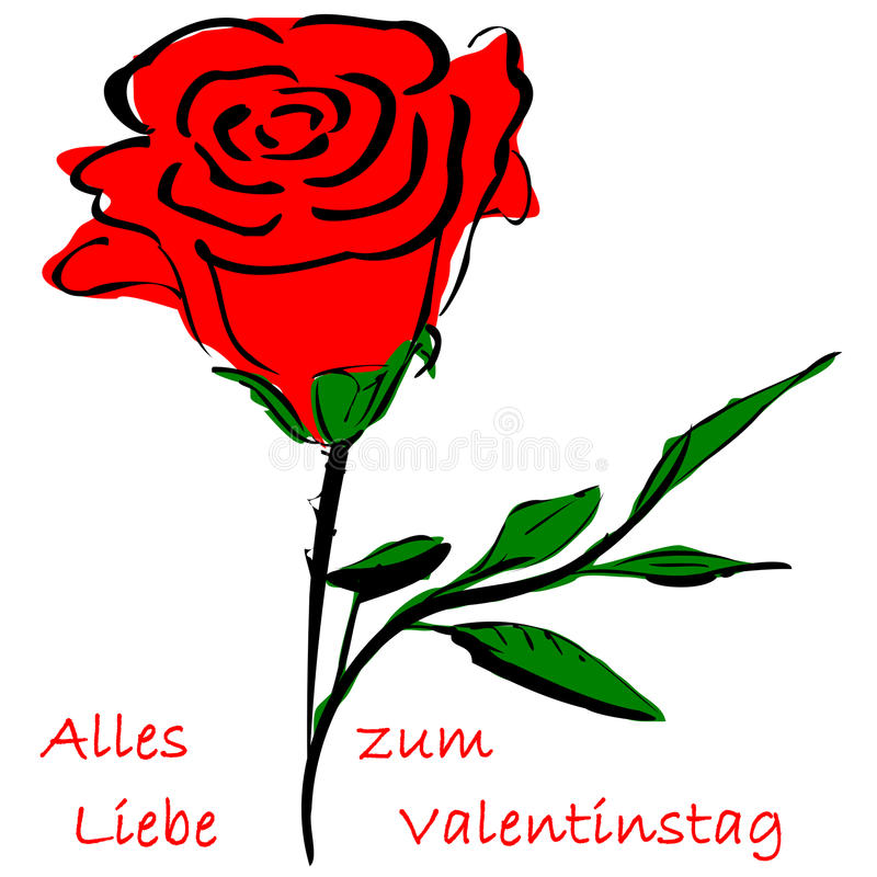 Rose valentine`s day. Rose and german text for Happy Valentine`s Day stock illustration