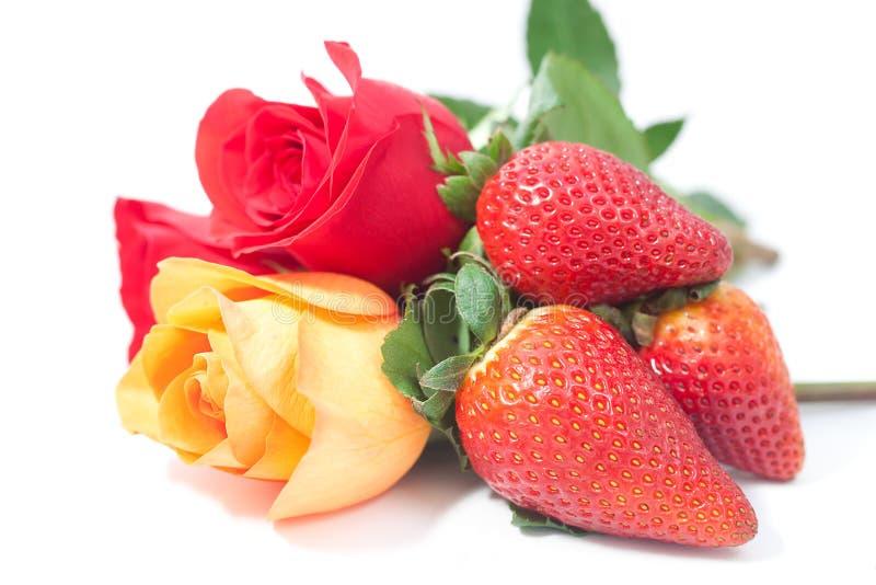 Rose variopinte e fragola su bianco immagine stock libera da diritti