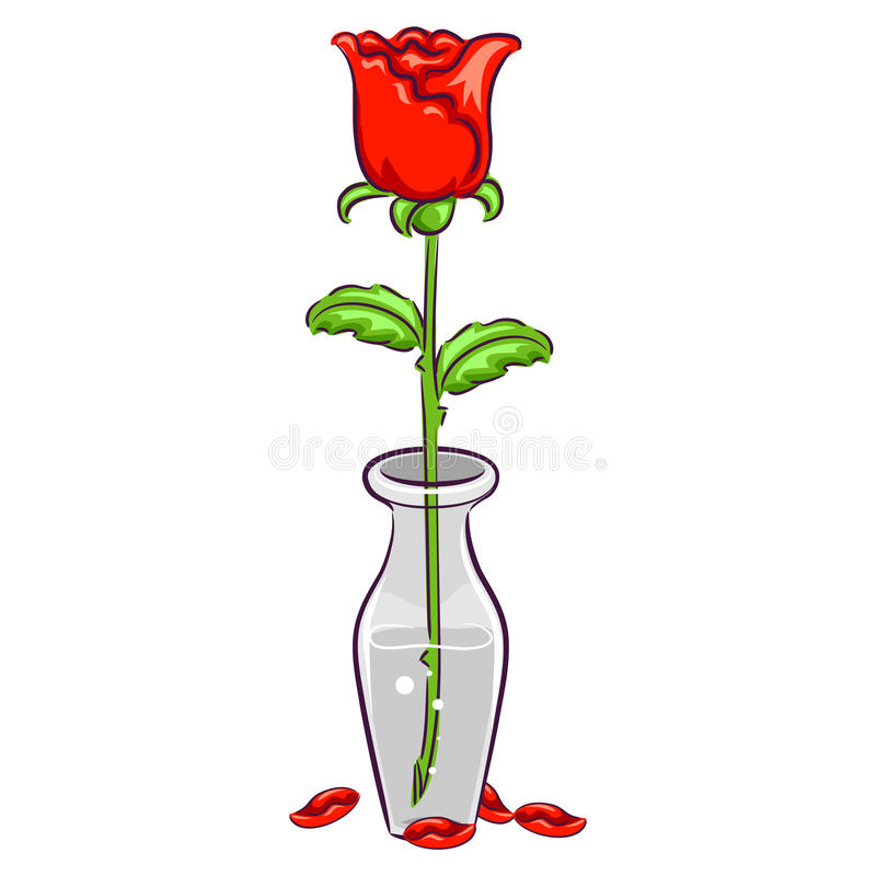 Rose In A Vase With Falling Petals Stock Vector Illustration Of