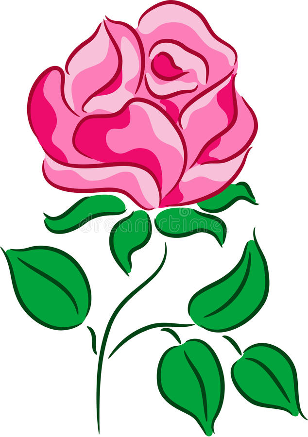 Rose Vector. Beautiful vector illustration with rose flower, isolated stock illustration
