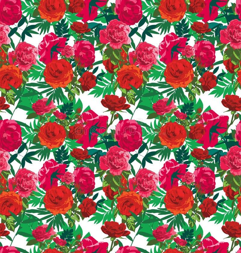 Rose. Vector illustration of floral seamless pattern royalty free illustration