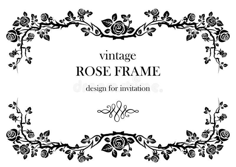 Rose vintage frame royalty free illustration