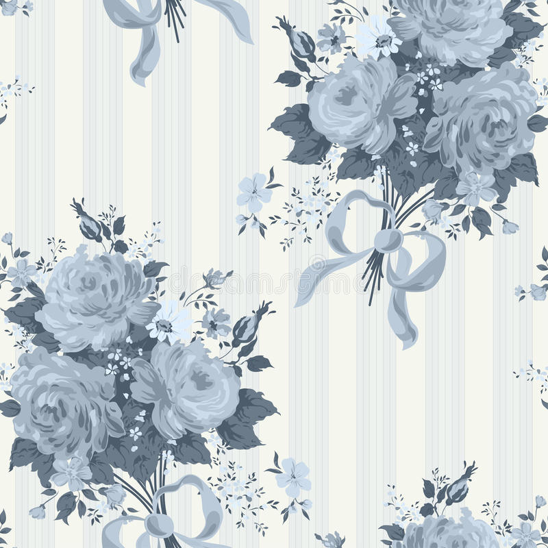 Rose Vintage Wallpaper blu Reticolo floreale illustrazione di stock