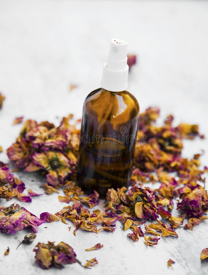 Rose water, natural skincare rose water bottle royalty free stock photo