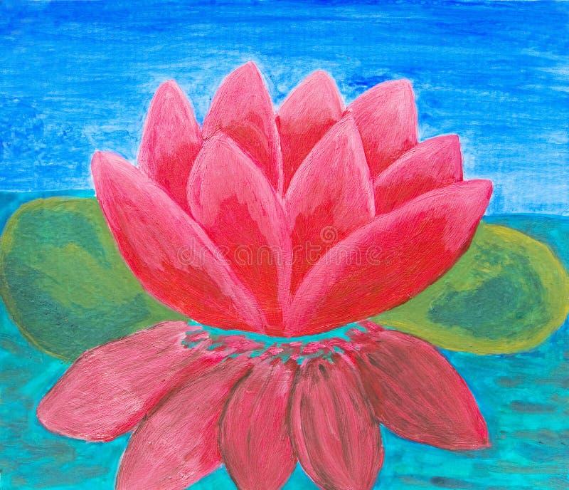 Rose waterlily, peinture à l'huile illustration stock