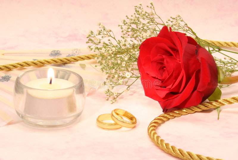 Rose With Wedding Bands royalty free stock photography