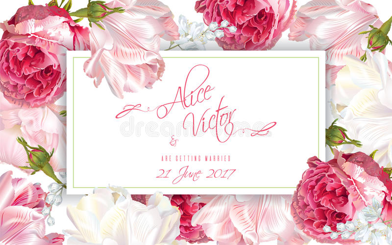 Rose wedding invitation. Vector wedding invitation horizontal card with garden rose and tulip flowers on white background. Can be used as floral design for vector illustration