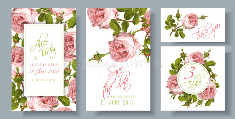 Rose wedding invitation stock illustration