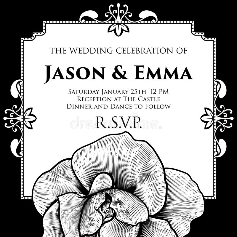 Rose Wedding Invite Invitation Template stock illustratie