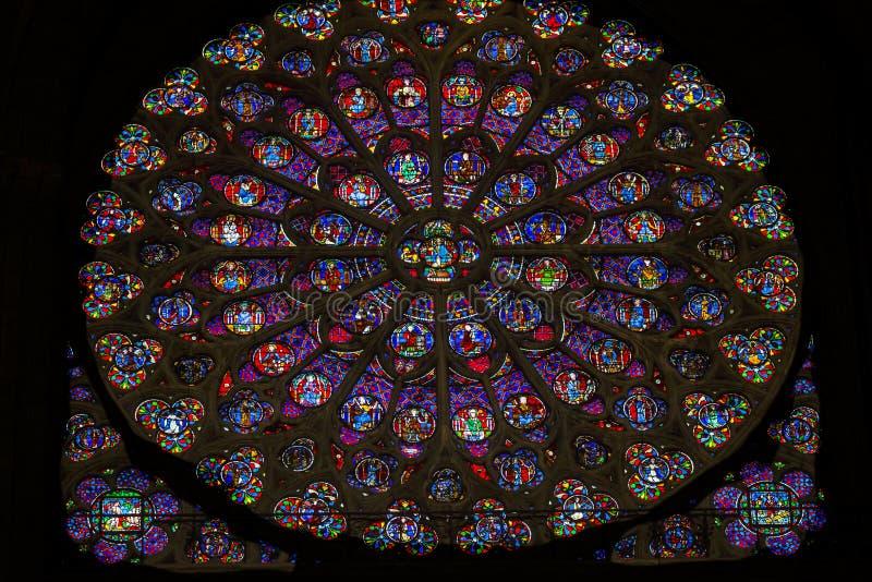 Rose Window Jesus Stained Glass Notre Dame Paris France arkivfoton