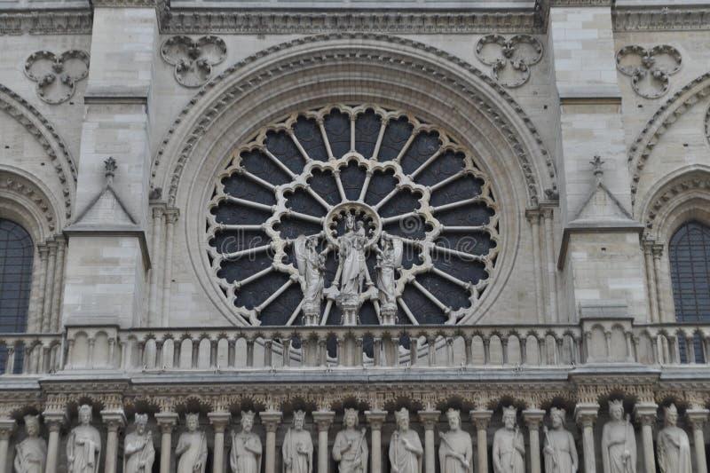 Rose Window Notre Dame Cathedral in Parijs, Frankrijk royalty-vrije stock afbeelding