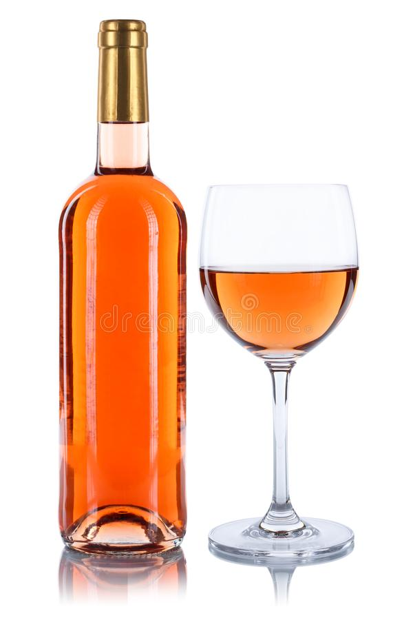 Rose wine bottle glass alcohol isolated on white royalty free stock images