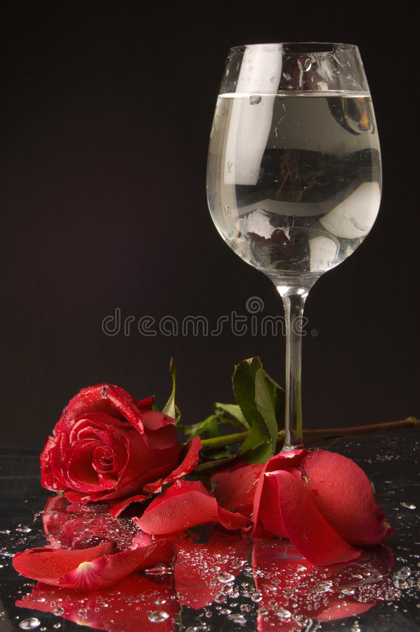 Download Rose And Wine Glass Of Water Royalty Free Stock Photography - Image: 8357257