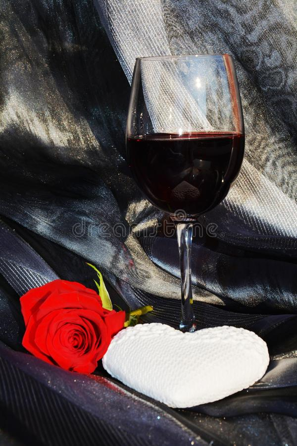 Rose, wine and heart royalty free stock images