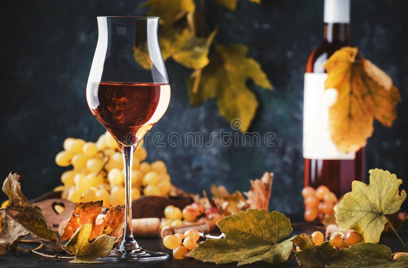 Rose wine at wine tasting concept. Gray background with grape and leaves. Pink wine in wineglass. Copy space royalty free stock photos