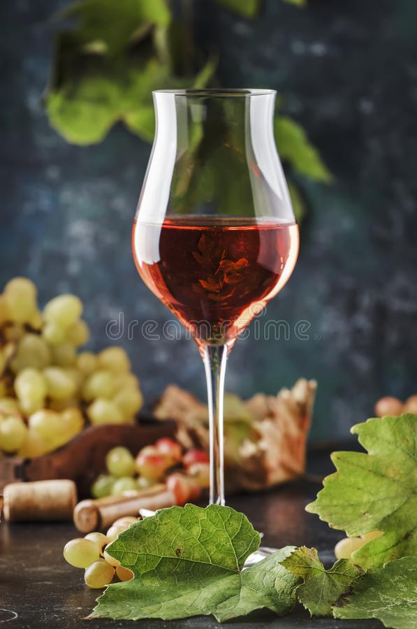 Rose wine at wine tasting concept. Gray background with grape and leaves. Pink wine in wineglass. Copy space royalty free stock images