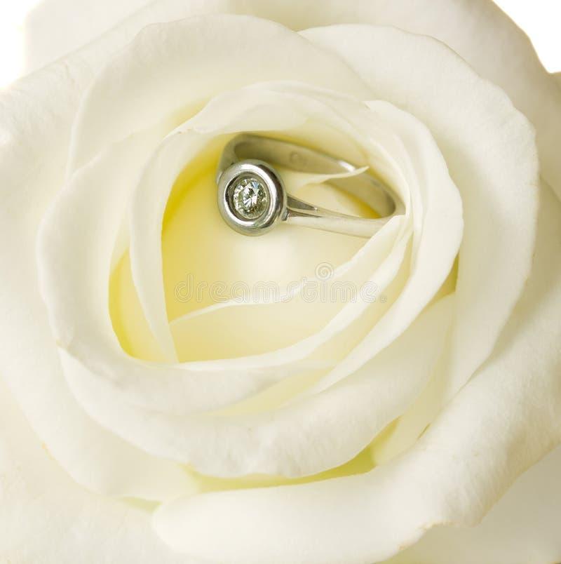 Rose y anillo de compromiso imágenes de archivo libres de regalías