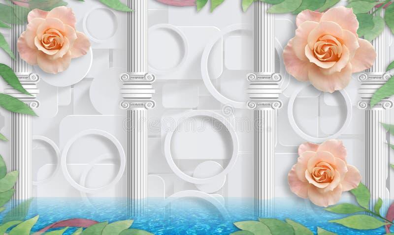 Rose y columnas Papel pintado de la foto para el interior representación 3d imagen de archivo