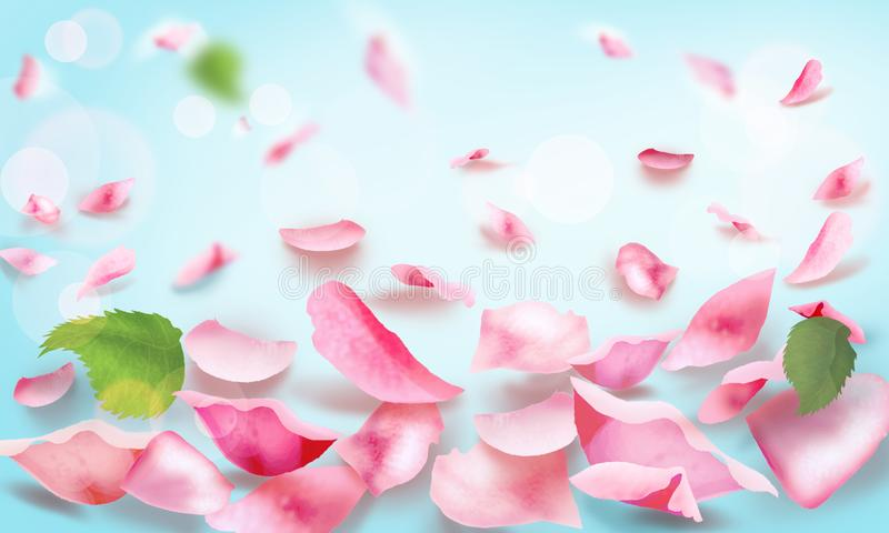 Rose y página en blanco romántica que cae de los pétalos imagen de archivo libre de regalías
