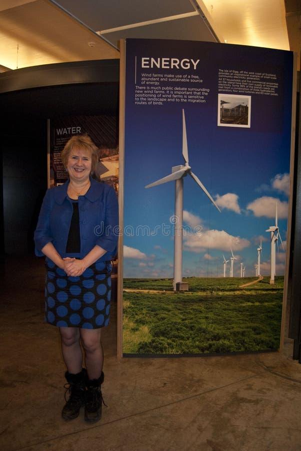 Roseanna Cunningham MSP. UK SCOTLAND Edinburgh -- 23 Dec 2010 -- Scottish Climate Change Minister Roseanna Cunningham poses in front of a wind farm exhibit at royalty free stock photo