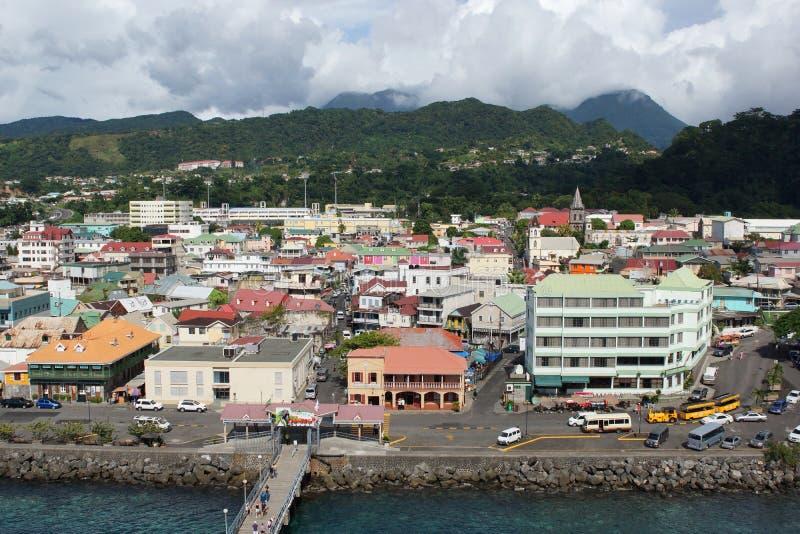 Roseau Dominica som är karibisk royaltyfri fotografi
