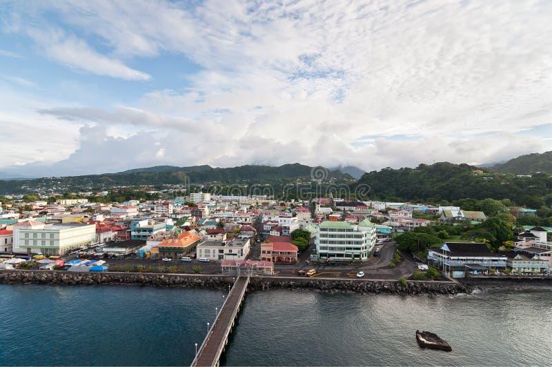 Roseau Dominica som är karibisk arkivbild
