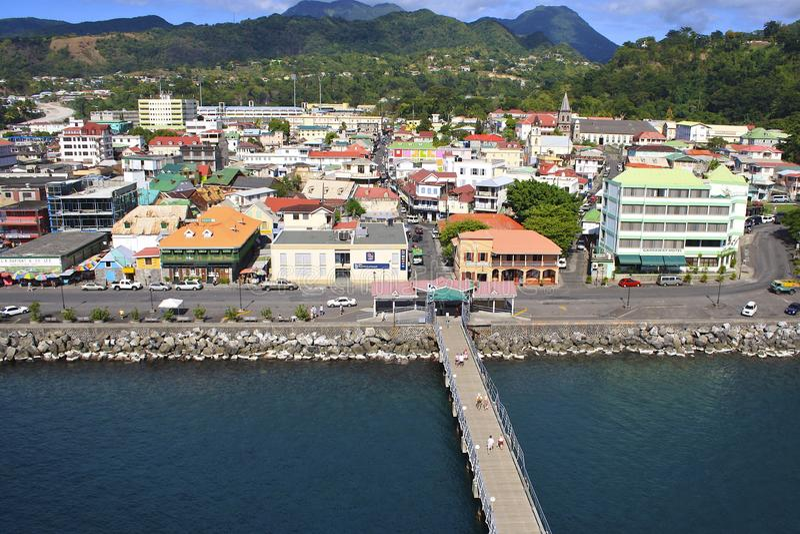 Roseau sikt, Dominica royaltyfri foto