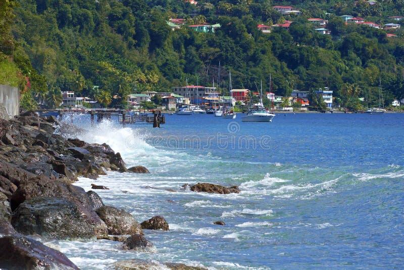 Roseau strand, Dominica som är karibisk fotografering för bildbyråer