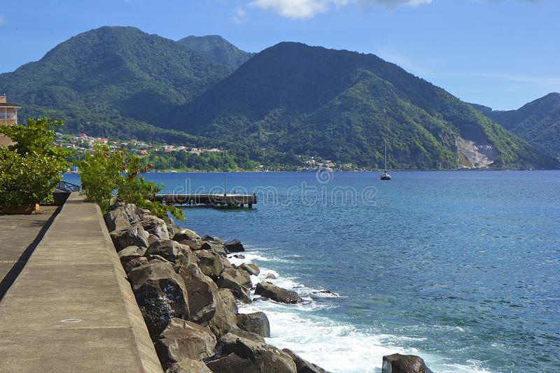 Roseau waterfront in Dominica, Caribbean stock image
