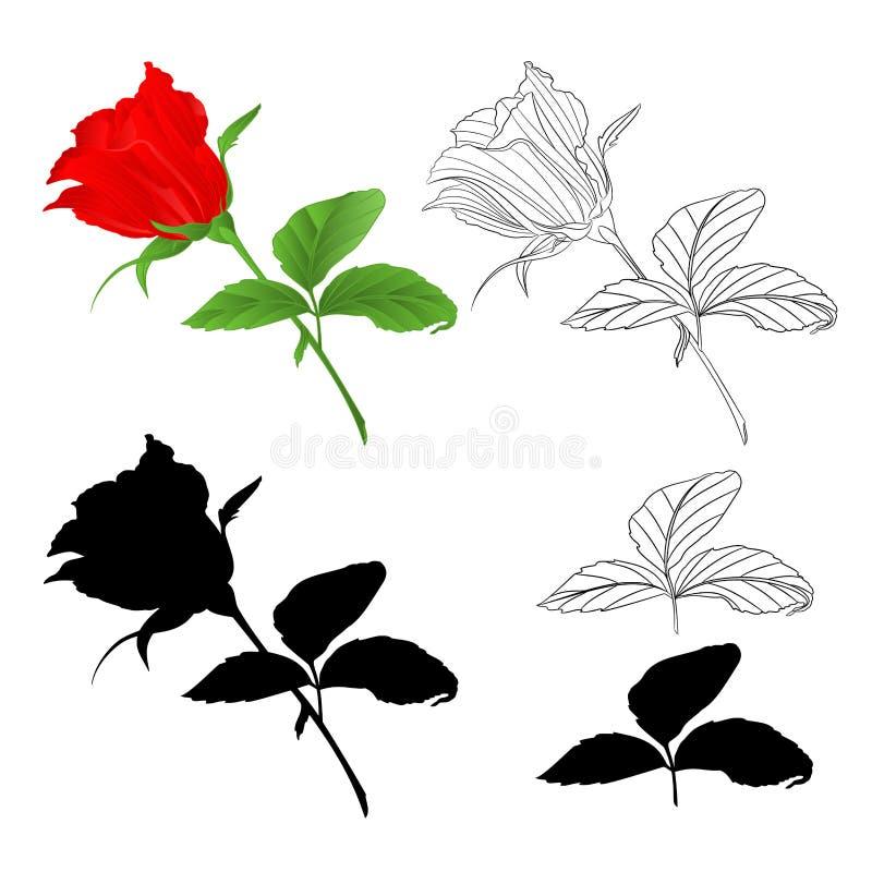 Rosebud rood natuurlijk en overzicht en silhouettakje met bladeren op een witte uitstekende vector editable illustratie als achte vector illustratie