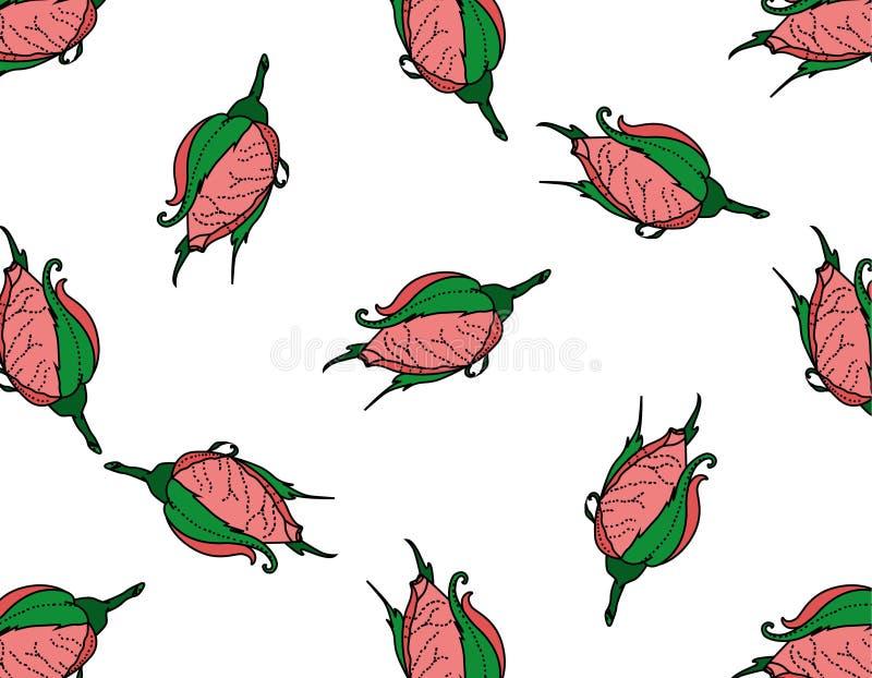 rosebuds Bezszwowy tło wzór ręka patroszona royalty ilustracja