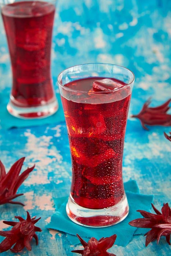 Roselle汁液,传统泰国草本冷的汽水和装饰新鲜的Roselle 库存照片