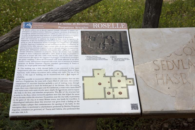 Toscana. Roselle GR, Italy - June 19, 2017: A map in the archaeological site in Roselle, Grosseto, Tuscany, Italy, Europe stock photography