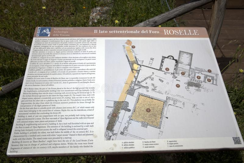Toscana. Roselle GR, Italy - June 19, 2017: A map in the archaeological site in Roselle, Grosseto, Tuscany, Italy, Europe stock photos