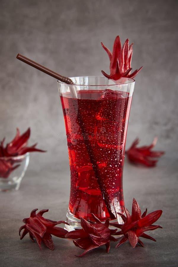 Roselle sok, Tradycyjny Tajlandzki Ziołowy Zimny Miękki napój I Dekorujący Świeżym Roselle obraz stock