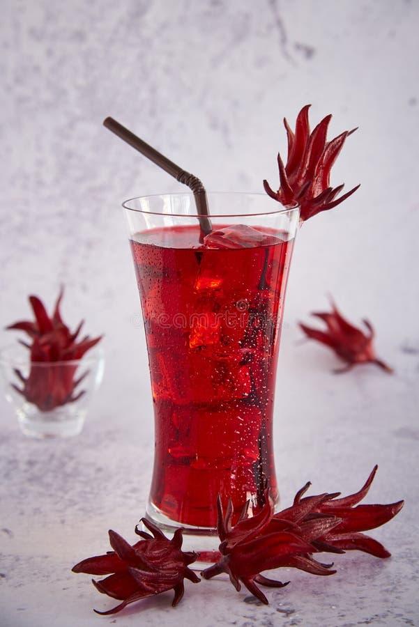 Roselle sok, Tradycyjny Tajlandzki Ziołowy Zimny Miękki napój I Dekorujący Świeżym Roselle zdjęcie royalty free