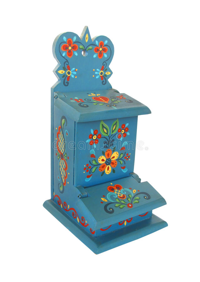 Rosemaling painted matchbox holder isolated. stock photography