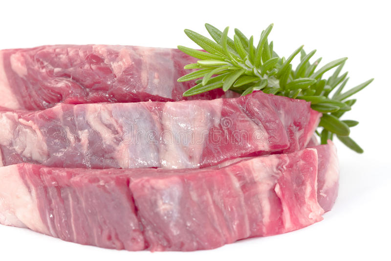 Rosemary On Beef Fillet Steak Stock Photo
