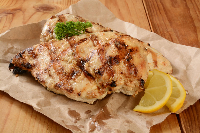 Rosemary chicken breasts. Grilled organic rosemary chicken breasts with a slice of lemon stock photography