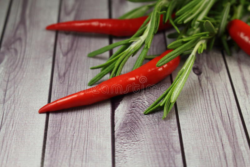 Rosemary and chilli pepper stock images