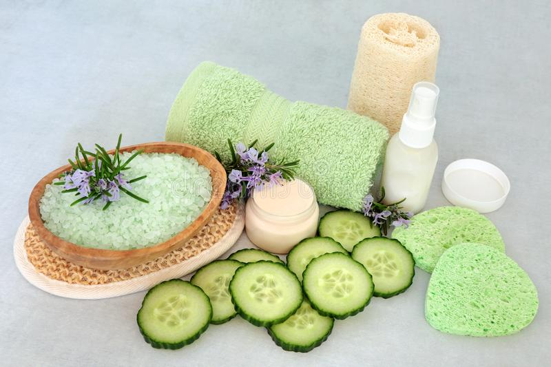 Rosemary & Cucumber Natural Vegan Skincare Beauty Treatment stock photography