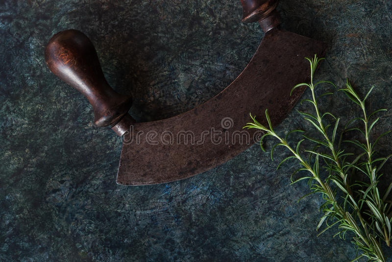 Download Rosemary Herb Bunch And Chopper Stock Photo - Image: 83835718