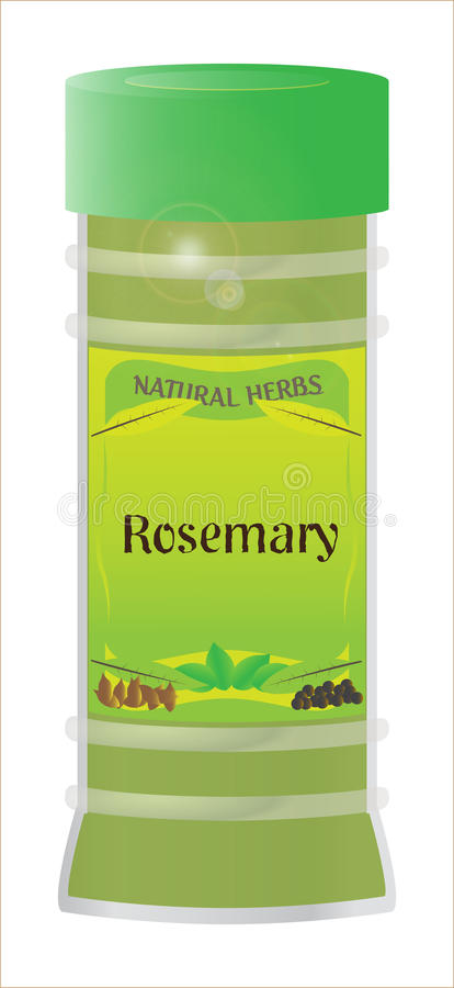 Rosemary. A `Rosemary` herb and spice jar isolated on a white background royalty free illustration