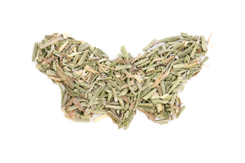 Rosemary isolated in butterfly shape stock photo