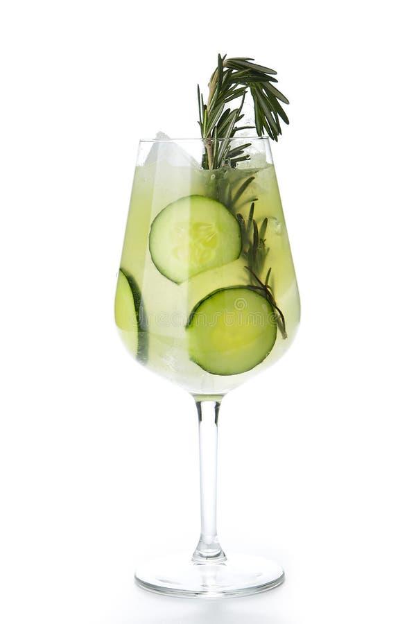 Rosemary Jin Tonic Cocktail con il cetriolo ed il ghiaccio isolati fotografie stock libere da diritti