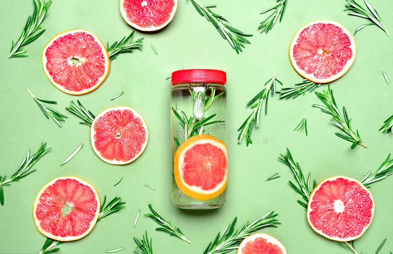 Rosemary and pink grapefruit infused water stock photos