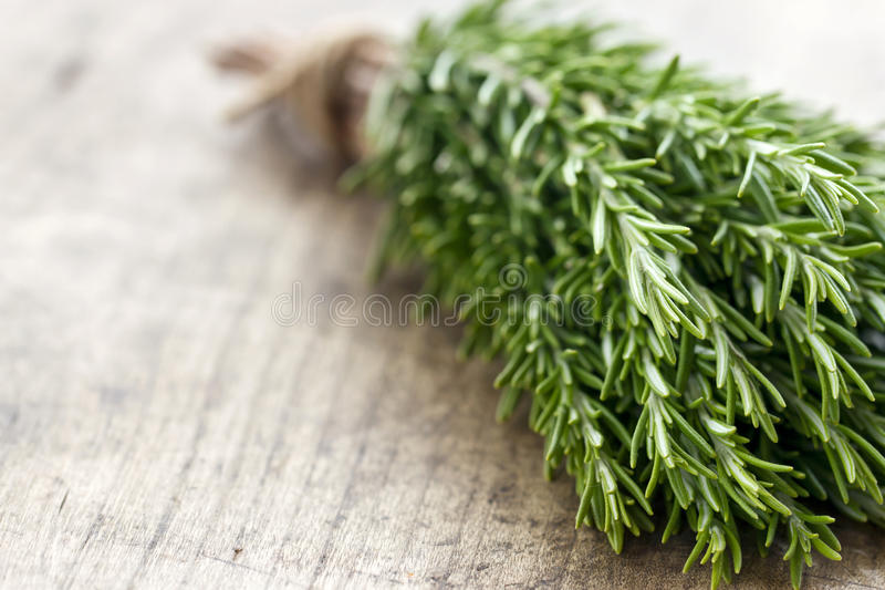 Rosemary on rustic wooden table background stock photo