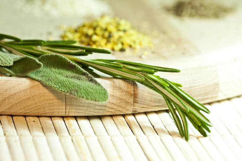Download Rosemary and sage stock photo. Image of sage, wood, cuisine - 13013496