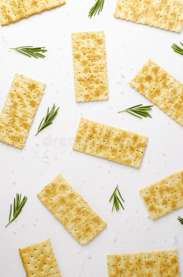 Rosemary salty crackers, italian snacks concept. stock images